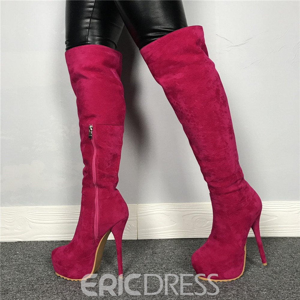 Ericdress Round Toe Side Zipper Fashion Boots