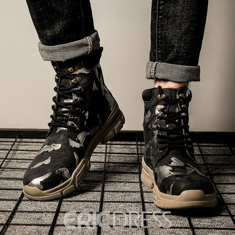 Ericdress Round Toe Lace-Up Front Color Block Men's Boots