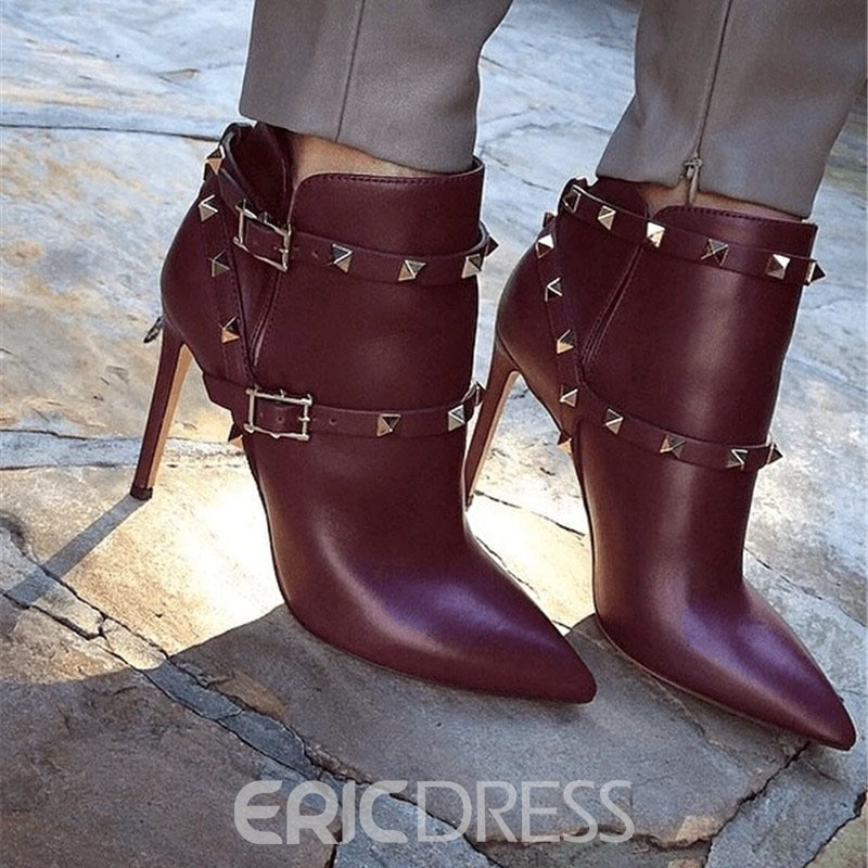 Ericdress Customized Pointed Toe Stiletto Heel Hasp Rivet Boots