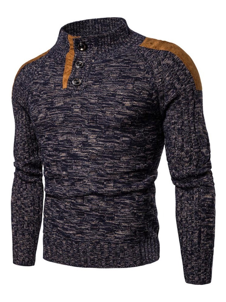 Ericdress Standard Color Block Button Casual Slim Men's Sweater