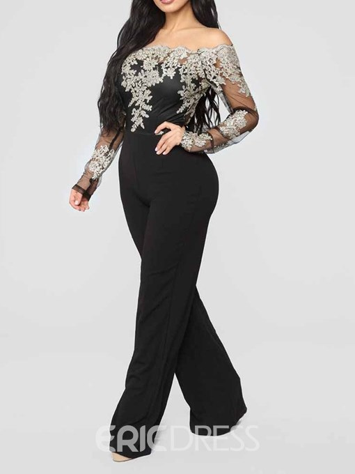 Ericdress Plus Size Lace Casual Full Length Slim High Waist Jumpsuit