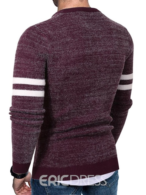 Ericdress Standard Color Block Round Neck Slim European Men's Sweater