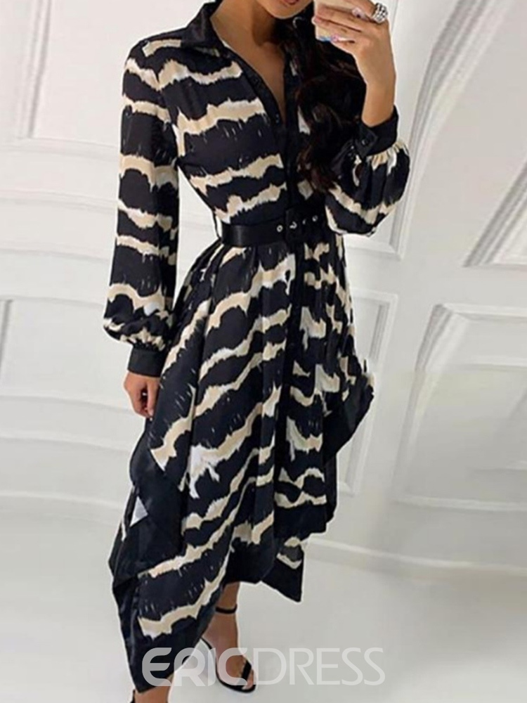 Ericdress Lapel Asymmetric Long Sleeve Lantern Sleeve Stripe Dress