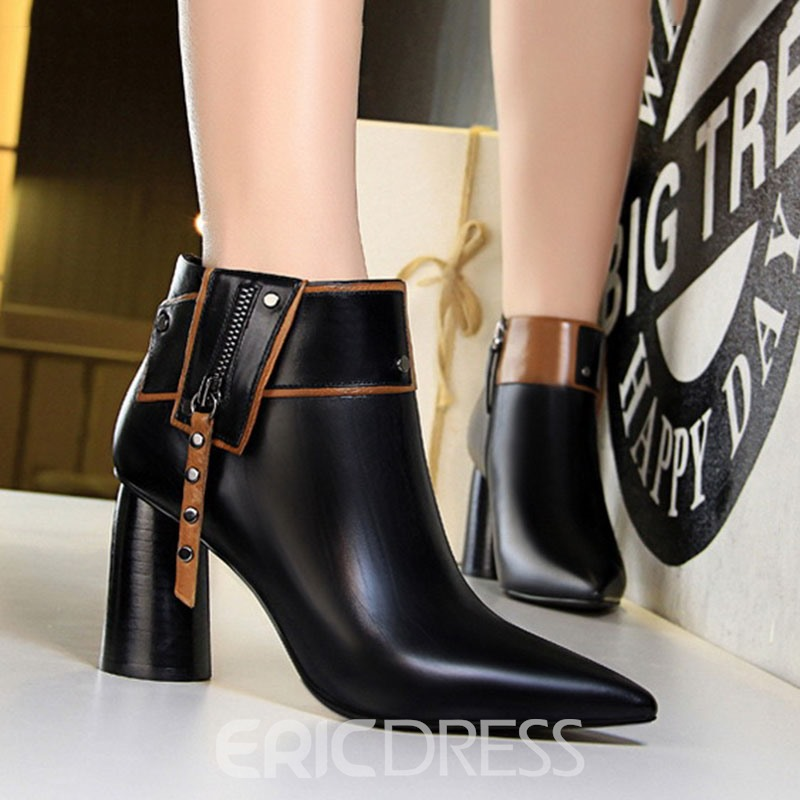 Ericdress Chunky Heel Pointed Toe Color Block Women's Ankle Boots