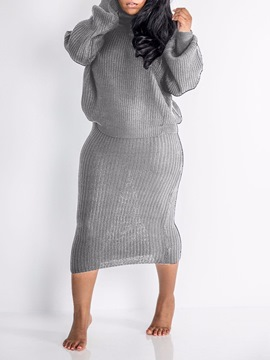 Ericdress Elegant Plain Turtleneck Bodycon Two Piece Sets