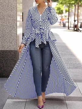 Ericdress V-Neck Regular Stripe Long Sleeve Long Women's Blouse