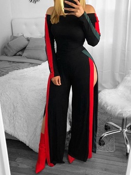 Ericdress Off Shoulder Full Length Casual Color Block Loose Jumpsuit