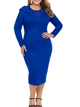 Ericdress Plus Size Round Neck Mid-Calf Long Sleeve Regular Mid Waist Dress