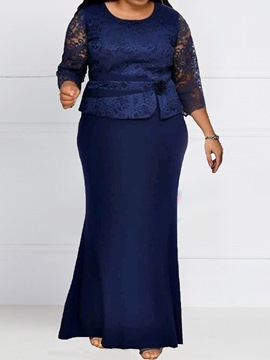 Ericdress Plus Size Three-Quarter Sleeve Lace Ankle-Length Party/Cocktail Regular Dress