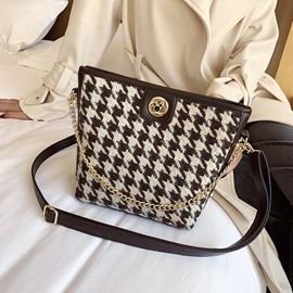 Ericdress Thread Houndstooth PU Rectangle Crossbody Bags