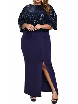 Ericdress Plus Size Round Neck Three-Quarter Sleeve Ankle-Length Plain Summer Dress