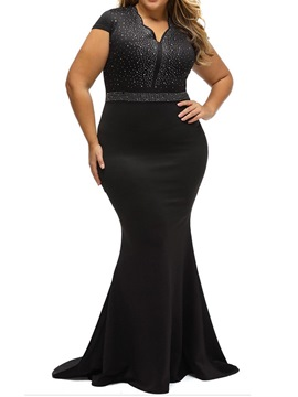 Ericdress Plus Size Diamond V-Neck Floor-Length Regular Party/Cocktail Dress