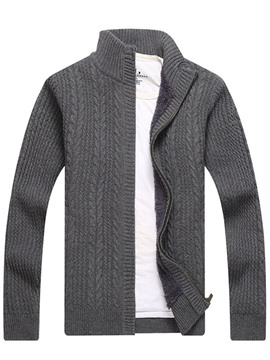 Ericdress Patchwork Stand Collar Standard Zipper Men's Sweater