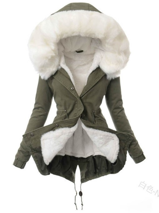 Ericdress Single-Breasted Loose Patchwork Mid-Length Cotton Padded Women's Jacket