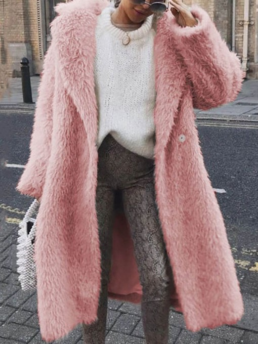 Ericdress Plain Long Loose Wrapped Faux Fur Women's Overcoat