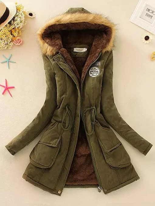 Ericdress Loose Patchwork Mid-Length Cotton Padded Fashion Women's Jacket