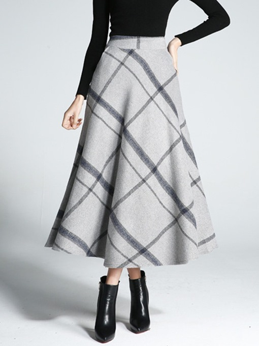 Ericdress Casual Mid-Calf Color Block A-Line Skirt