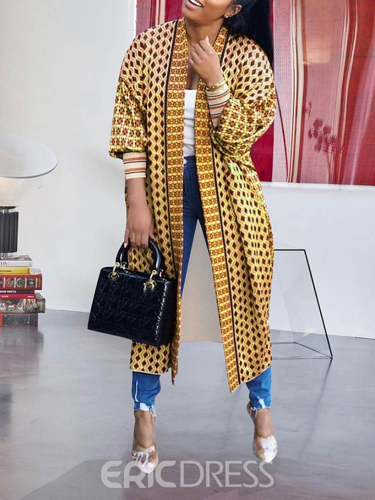 Ericdress Wrapped Print Long Three-Quarter Sleeve Loose Women's Trench Coat