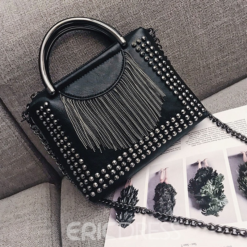 Ericdress Rivet PU Plain Rectangle Crossbody Bags