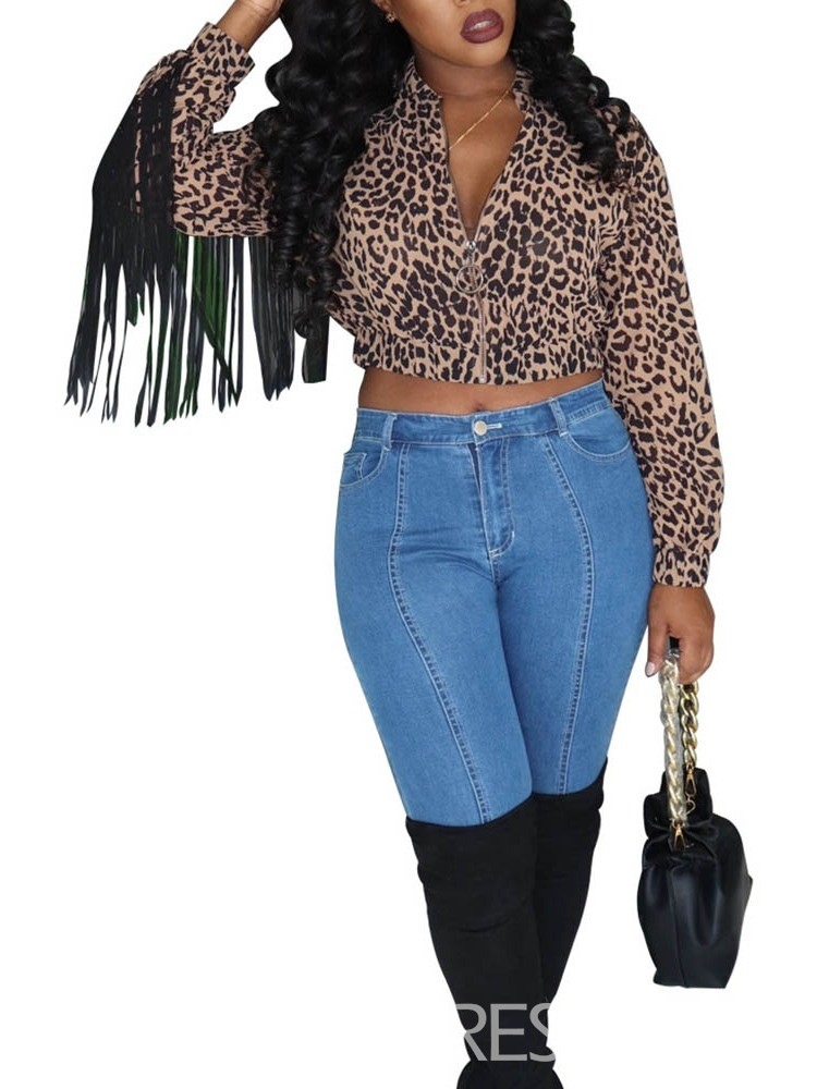 Ericdress Leopard Long Sleeve Short Women's Blouse