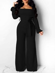 Ericdress Off Shoulder Sexy Lace-Up Full Length Slim Jumpsuit фото