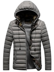 Ericdress Standard Plain Hooded European Zipper Mens Down Jacket