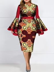 Ericdress Plus Size Print Round Neck Long Sleeve Bodycon Fall Dress фото