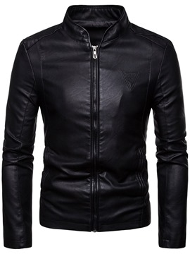 Ericdress Plain Stand Collar Zipper Casual Men's Jacket