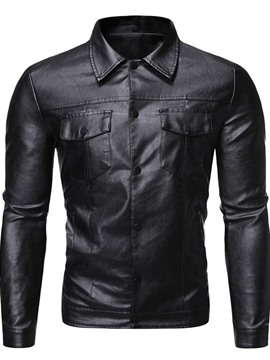 Ericdress Plain Lapel Button Casual Single-Breasted Men's Jacket