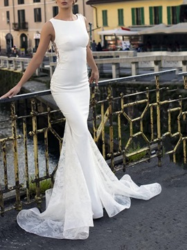 Ericdress Sheath Floor-Length Lace Church Wedding Dress 2020