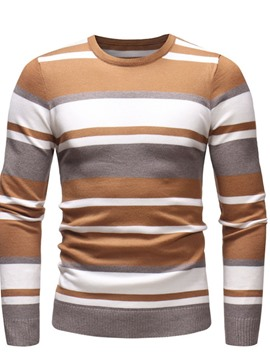 Ericdress Stripe Round Neck Patchwork Casual Slim Men's Sweater