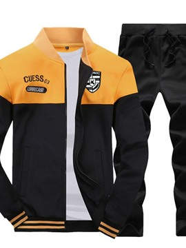 Ericdress Jacket Letter Zipper Men's Outfit