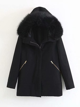 Ericdress Zipper Straight Patchwork Mid-Length Winter Women's Overcoat