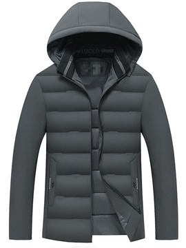 Ericdress Plain Hooded Standard Casual Zipper Men's Down Jacket