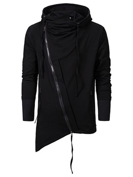 Ericdress Plain Asymmetric Cardigan Zipper Mne's Hoodies