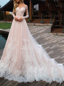 Ericdress Appliques Floor-Length A-Line Hall Wedding Dress 2020