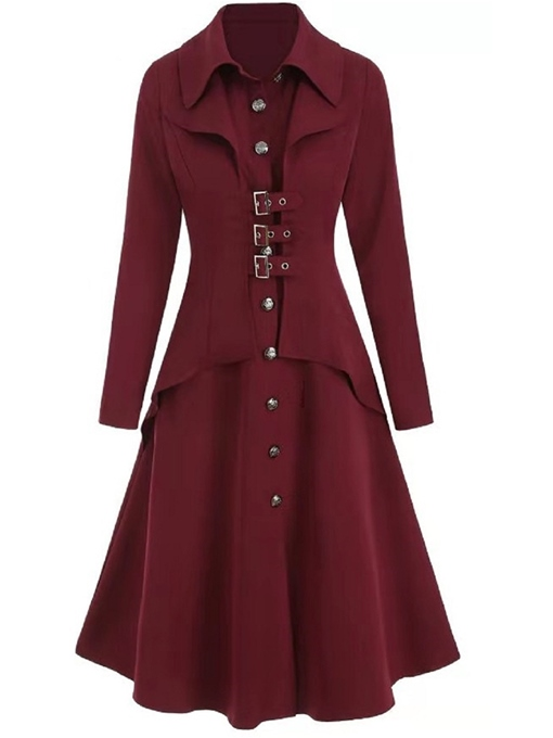 Ericdress A Line Single-Breasted Button Mid-Length Lapel Women's Overcoat