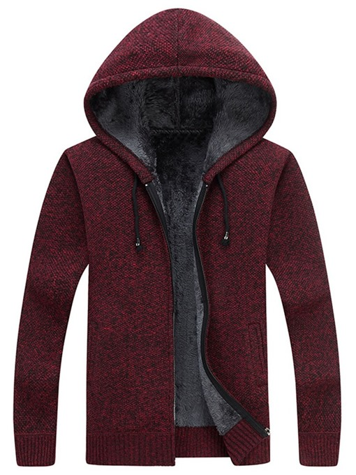 Ericdress Plain Hooded Standard Straight Men's Sweater