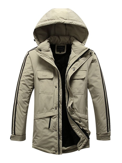 Ericdress Zipper Color Block Hooded Casual Mwn's Down Jacket