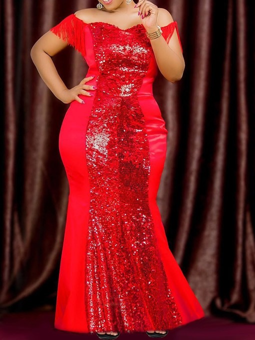 Ericdress Plus Size Sequins Short Sleeve Floor-Length Regular Trumpet Dress