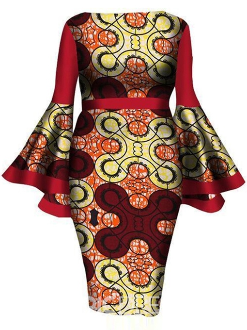 Ericdress Plus Size Print Round Neck Long Sleeve Bodycon Fall Dress