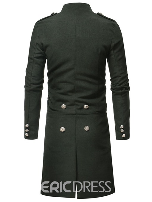Ericdress Long Stand Collar Button Single-Breasted Men's Coat