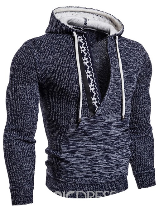 Ericdress Color Block Hooded Patchwork Slim Men's Sweater
