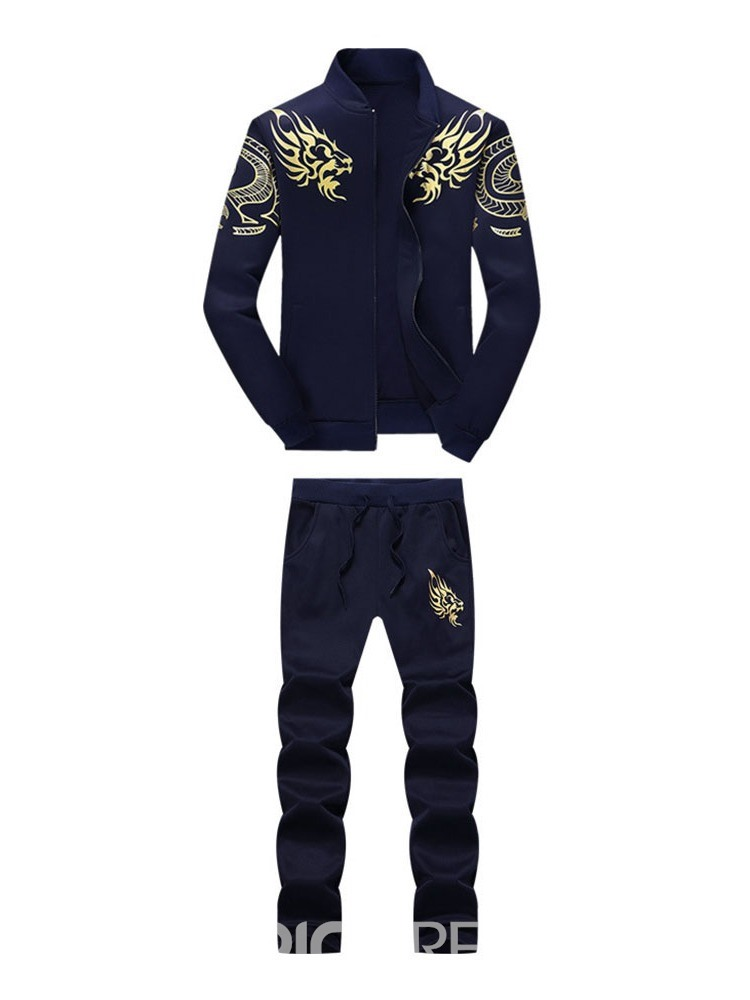 Ericdress Casual Print Hoodie Men's Outfit
