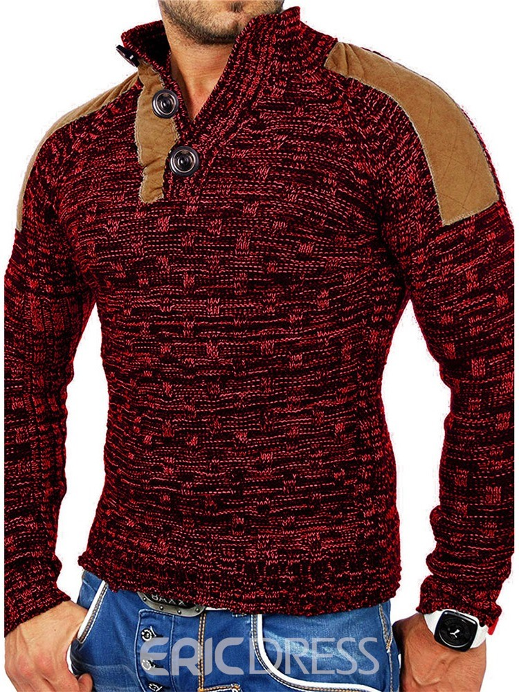 Ericdress Collar Button Standard Fashion Men's Sweater