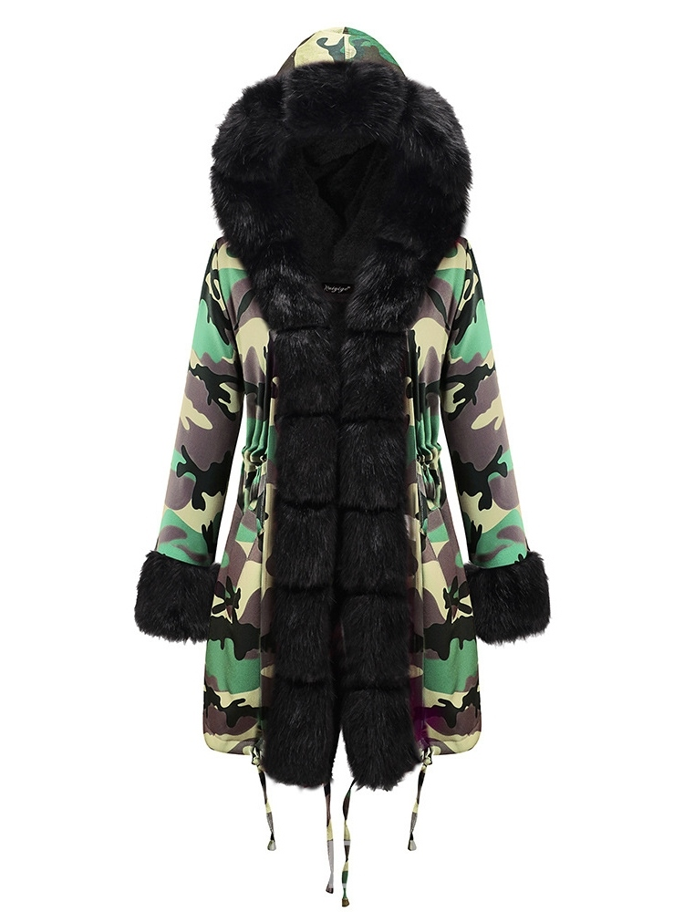Ericdress Patchwork Loose Mid-Length Cotton Padded Fur Warm Women's Jacket