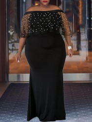 Ericdress Plus Size Floor-Length Off Shoulder Half Sleeve Mermaid Cold Shoulder Dress фото