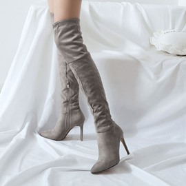 Ericdress Side Zipper Stiletto Heel Pointed Toe Knee High Boots