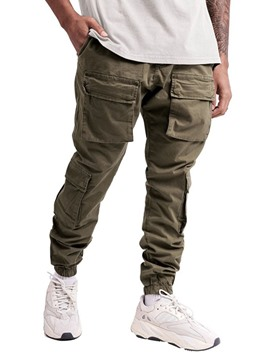 Ericdress Overall Plain Pocket Mid Waist European Men's Casual Pants