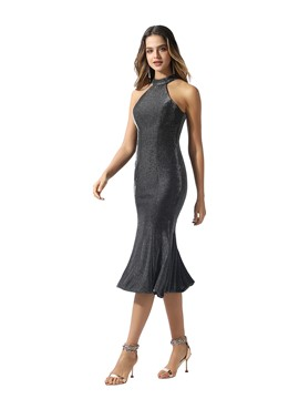 Ericdress Halter Mermaid Tea-Length Cocktail Dress 2020